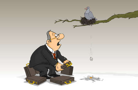 apathy: Man looks surprised as the dove nest eggs fall Illustration