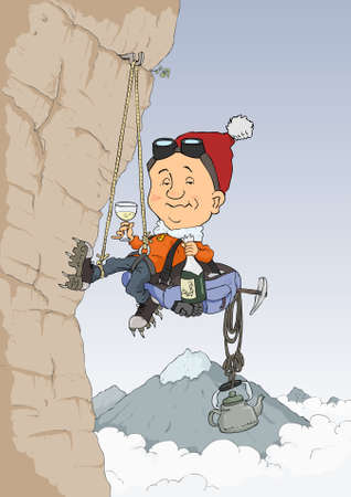 rock climber: Rock climber climbs the hill and drink champagne