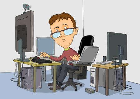 hombre caricatura: Chico con gafas est� trabajando en varios ordenadores