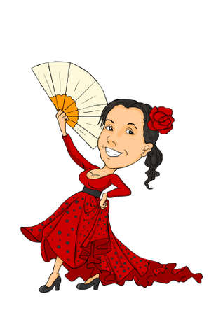 spanish fan: A girl with a big smile dancing in red dress
