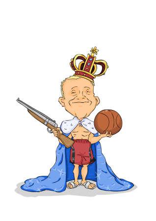 rey caricatura: Hombre sonriente con la corona de la cabeza y el arma de mano y la pelota Vectores
