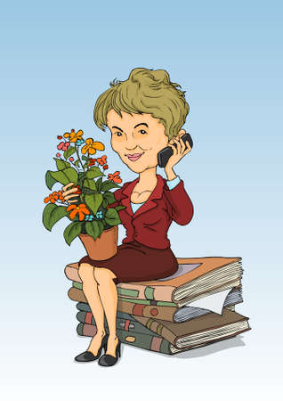 caricature woman: Lady talking on the phone, sitting on a pile of books