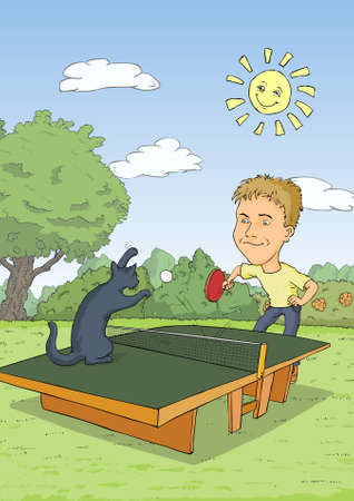 Man playing ping pong with a blue cat Vector