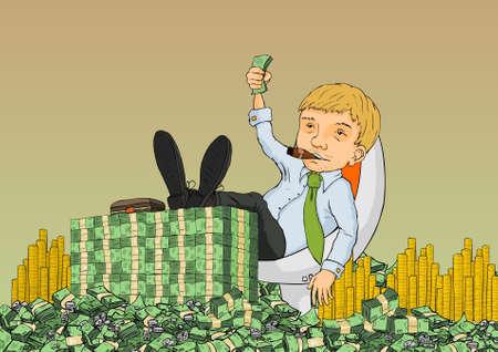 Ein reicher Mann wird an der Kasse sitzen