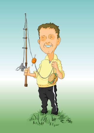hombre caricatura: El hombre sorprendido con una hamburguesa ca�a de pescar