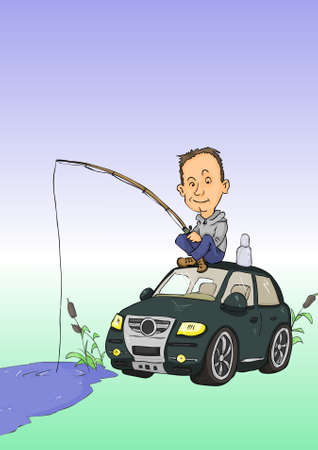 Man with fishing rods sitting on car roof Vector
