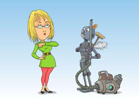 zapatos caricatura: Ama de casa quita el robot limpiador