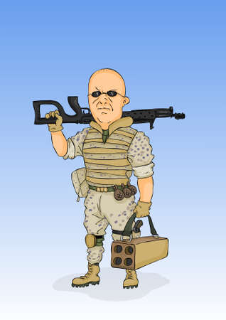 Militarist in the form of the desert with arms