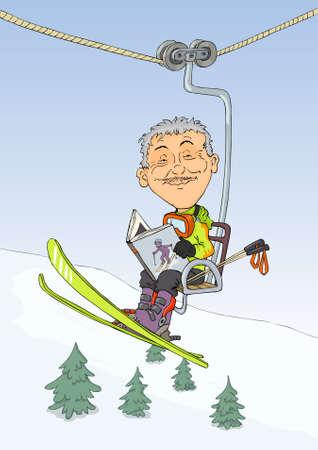monta�as caricatura: Esquiador en el tren de monta�a de leer el libro
