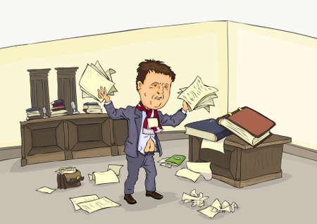 hombre caricatura: Hombre desesperado en el cuarto de la corte con una pila de papel