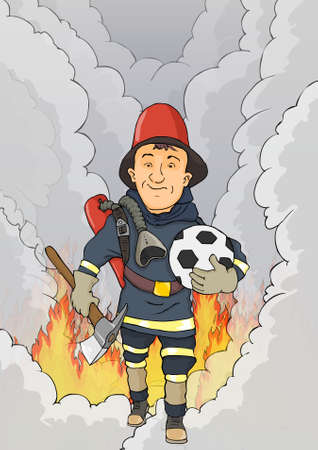 colourful fire: Fireman happy to come out of the flame Illustration