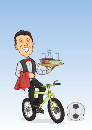 Smiling waiter cycling serves drinks and dishes Illustration