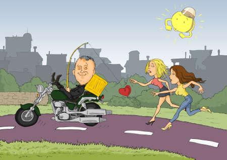 zapatos caricatura: Vanidoso conducir una motocicleta y dos mujeres corriendo detrás de él Vectores