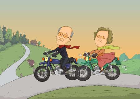 hombre caricatura: Dos jubilados que viajan en motocicleta en un camino rural Vectores
