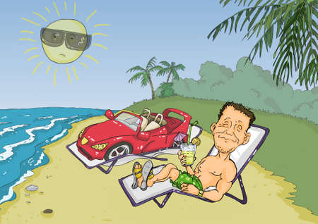 cartoon palm tree: Man sunbathed on the beach with a sports car Illustration