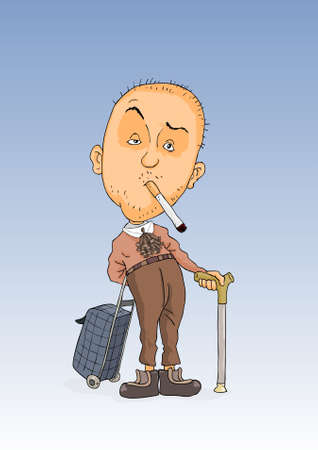 Old man with a cigarette in mouth and stick in the hands Illustration