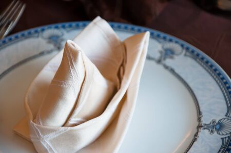folded napkin on the dinner table creatively