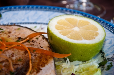 grilled swordfish and lemon