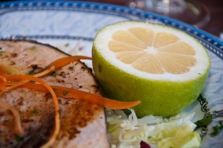 grilled swordfish and lemon