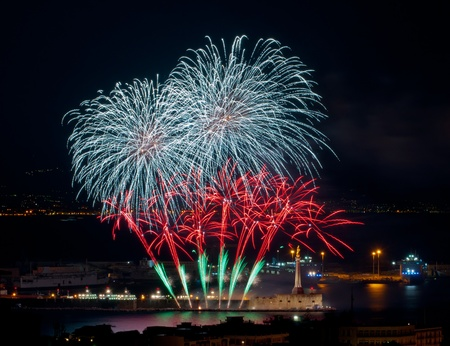 fireworks in the port of messina  photo