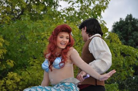 Disneyland Paris, August, 14, 2010 - Little mermaid at princess parade,  Once upon a dream  parade at Eurodisney