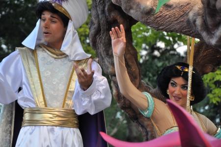 Disneyland Paris, August, 14, 2010 - Aladin and princess Jasmine,  Once upon a dream  parade at Eurodisney Editorial