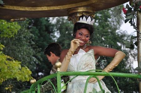 Disneyland Paris, August, 14, 2010 - Princess Tiana, Once upon a dream  parade at Eurodisney