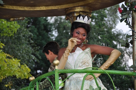 Disneyland Paris, August, 14, 2010 - Princess Tiana, Once upon a dream  parade at Eurodisney