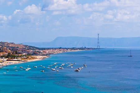 sicilian coast over the strait of messina