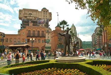 Disneyland Paris, August, 13, 2010 - walt disney and mickye mouse monument in walt disney studios   Editorial