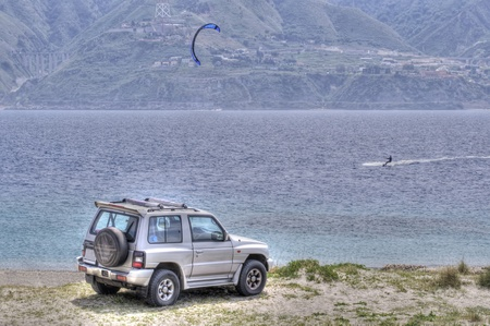 offroad and water sports at capo peloro messina sicily Editorial