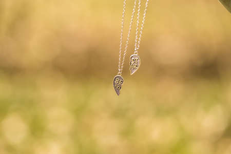 Set of best friends heart necklace shoot outside in a summer day closeup. Selective Focus Stock Photo