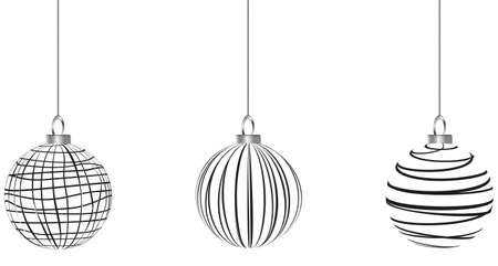 ribbon christmas baubles black and white