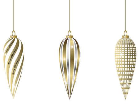 gold ornaments: set of oval golden christmas baubles Illustration