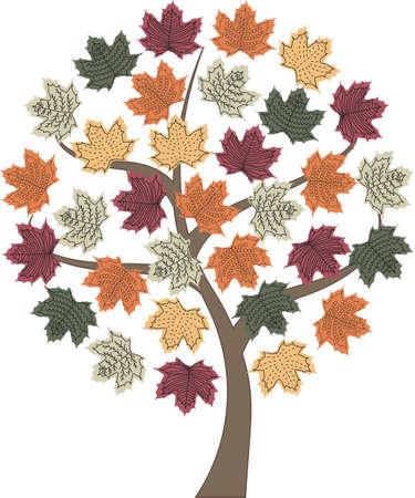Einzelne Herbst Baum isoliert orange und gelb Ahorn Blätter im Kreis