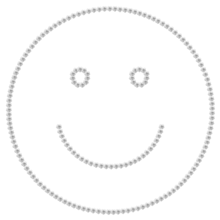 Gray smile icon made with hibiscus flowers Imagens