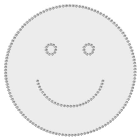 Gray smile icon made with hibiscus flowers