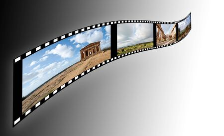 film with pictures of the Valley of the Temples in Sicily on a soft background photo