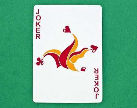 joker playing card with a green background