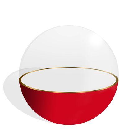 expositor: Esfera transparente mitad y mitad rojo fondo blanco sobre