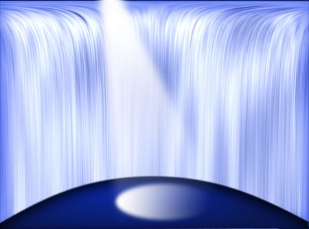 satire: Stage with the beam and waterfall behind Stock Photo