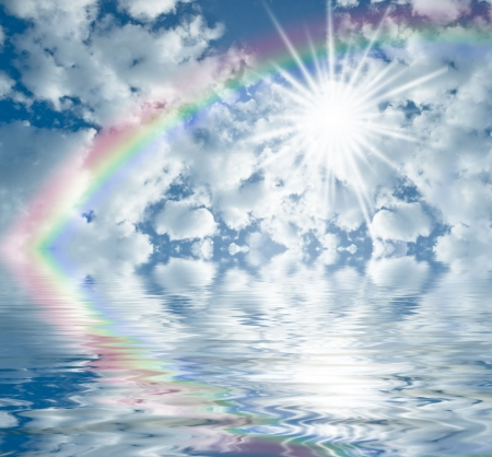summer sky with clouds  sun shining and rainbow