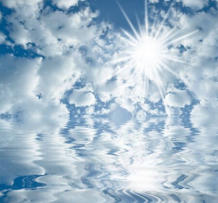summer sky with clouds and  sun shining  Standard-Bild
