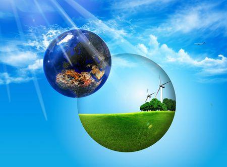 eg: ball inside ptato trees and wind turbines