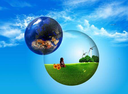 renewable: ball inside ptato trees and wind turbines