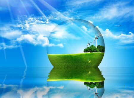 bal binnen ptato bomen en wind turbines