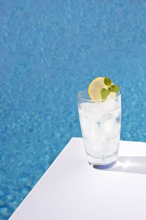 Iced drinks placed on board a private pool. photo