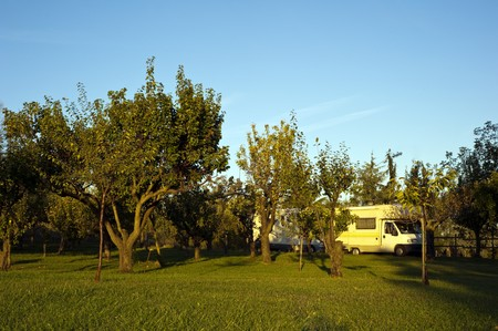 staging: staging of two campers in an orchard at dawn