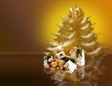Pacchetti natalizi e albero di natale su sfondo sfumato