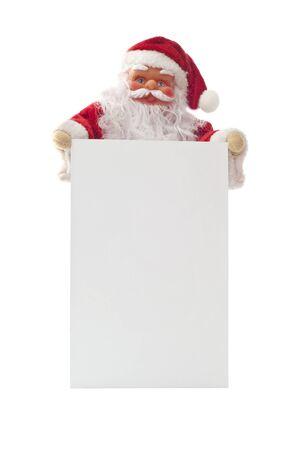 Santa Claus that shows a large white card